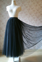 Adult Long Tulle Skirt, Black Gray Polka-dots Tulle Skirt, Evening long skirts