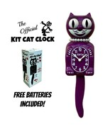 "BOYSENBERRY LADY KIT CAT CLOCK 15.5"" Purple Free Battery USA MADE Kit-Ca... - $69.99"