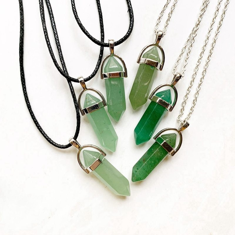 Primary image for Green Aventurine Stone Pendant Natural Crystal Hexagonal Column Crystal Pendant