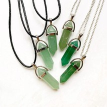 Green Aventurine Stone Pendant Natural Crystal Hexagonal Column Crystal ... - $12.32