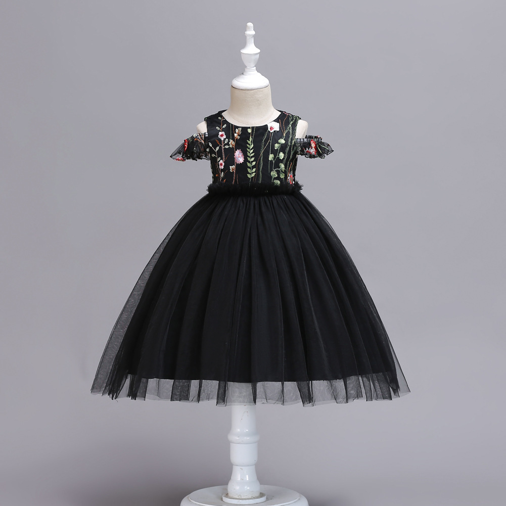 Ball Gowns Black Tulle Embroidery Kids Flower Girl Dress Strapless Party Gowns