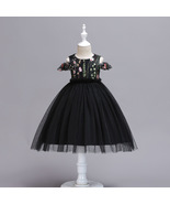 Ball Gowns Black Tulle Embroidery Kids Flower Girl Dress Strapless Party... - $38.50
