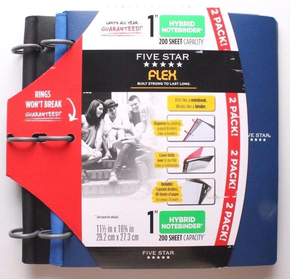 "Five Star Flex Black Blue 2 Pack 1"" Hybrid Notebinders 11 1/2 X 10 3/4 Inch NEW"
