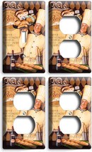 French Pastry Chef Bread Bakery 1 Light Switch 3 Outlet Wall Plate Kitchen Decor - $35.09