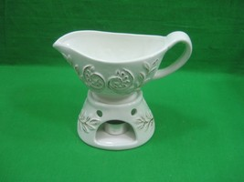 Vintage Ceramic Porcelain Gravy Boat & Gravy Boat Warmer Stand Intricate... - $13.98