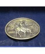 LARGE AMERICAN INDIAN ON HORSEBACK BRASS BELT BUCKLE 1977 NEW !! - $19.75