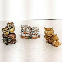 """Vtg Minatare Owl Pairs x3 Lot Mom and Babies 2"""" and under MCM Decor  - $16.95"""