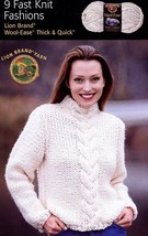 9 Fast Knit Fashions Sweaters, Shawl, Vest Pattern Booklet Adult S-3X Ch... - $4.47