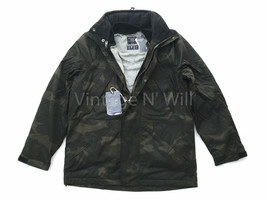 Abercrombie Fitch Jeans Mens L Army Green Camo 3 in 1 Parka Hood Jacket ... - $142.49