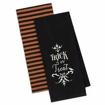 Trick or Treat Kitchen Towel Set of 2 Halloween Dish Cotton Embroidered  - $19.79