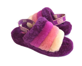 UGG FLUFF YEAH SLIDE BERRYLICIOUS MULTI SLIP ON SANDAL US 10 / EU 41 / UK 8 - $101.92