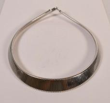 Monet Omega Chain Necklace Silvertone Choker Flex - $29.70