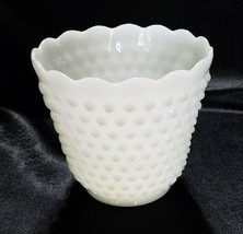 VINTAGE ANCHOR HOCKING MILK GLASS JARDINIERE HOBNAIL/ LADDER PATTERN - $6.45