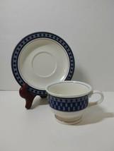 Tea Cup & Saucer Mikasa Potter's Touch Aztec Blue  - $8.79