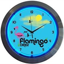 """Flamingo Diner Neon Clock 15""""x15"""" - $64.00"""