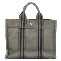 HERMES Canvas Fourre Tout PM Hand Bag Gray Auth 8946 - $99.00