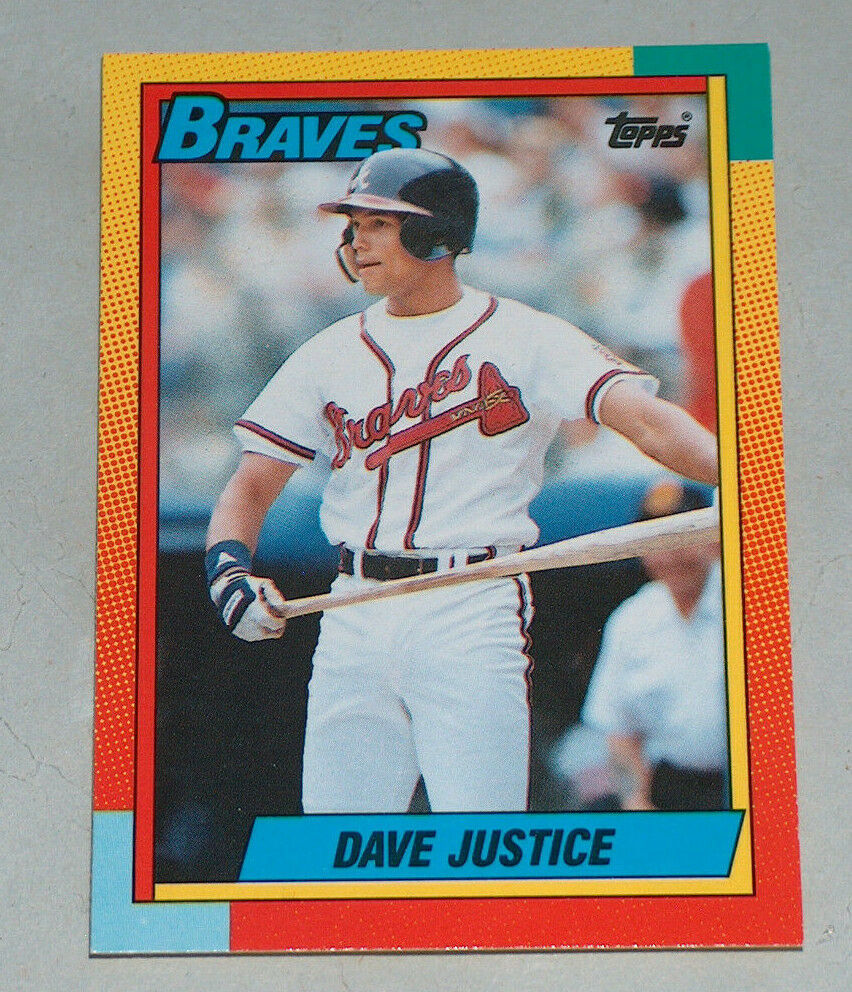 Primary image for 1990 Topps 48T Dave Justice Atlanta Braves Baseball RC Rookie Card NEAR Mint