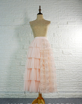 Blush Midi Tulle Skirt Outfit Puffy Tiered Tulle Skirt Blush Pink Holiday Skirt image 2