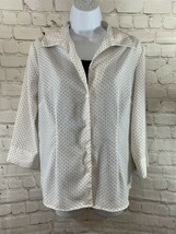 Women's Notations Black/White Polka Dot Sheer Top With Attached Shirt Sz S - $7.70