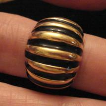 Bold Shrimp Ring size 6.5 Statement Cocktail Modern Art Deco Black & Gold Plated - $29.65