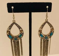 Long Silvertone Chain Faux Turquoise Dangle Drop Hook Earrings J6378 - £9.52 GBP