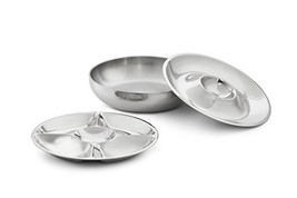 Artisan 3-Piece Stainless Steel Serving Bowl with 2-Section and 5-Sectio... - £73.48 GBP