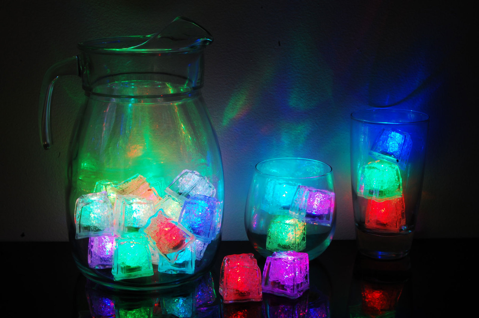 Set of 24 LiteCubes Brand 8 Mode Rainbow Light up LED Ice Cubes