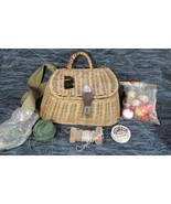 Vintage Fishing Wicker Creel with Metal Fish Head Clasp plus Contents - $54.22