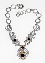 J. JANSEN Handcrafted Couture Necklace Rivoli Rhinestones Gold-Silver To... - $136.79
