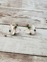 Vintage Screw On Earrings Unusual Frosted Stone with Green Stones - $12.99