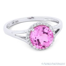1.80 ct Pink Lab-Sapphire & Diamond Halo 14k White Gold Promise Engageme... - £229.62 GBP