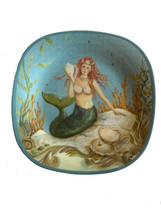 "Mermaid Melamine Plates 8.5"" Set of 4 Certified International Kate Mcros... - $39.99"