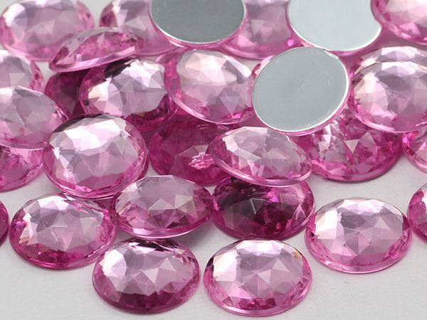 18mm Pink Lite A03 Flat Back Round Acrylic Gems - 30 Pieces