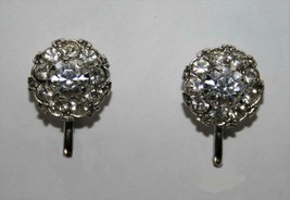 Vintage Signed Coro Sparkling Clear Crystal Screw Back Earrings J340 - $24.00