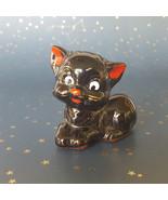 Vintage Ceramic Black Cat Kitten Figurine Kitty Brownware Clay Japan - $18.76