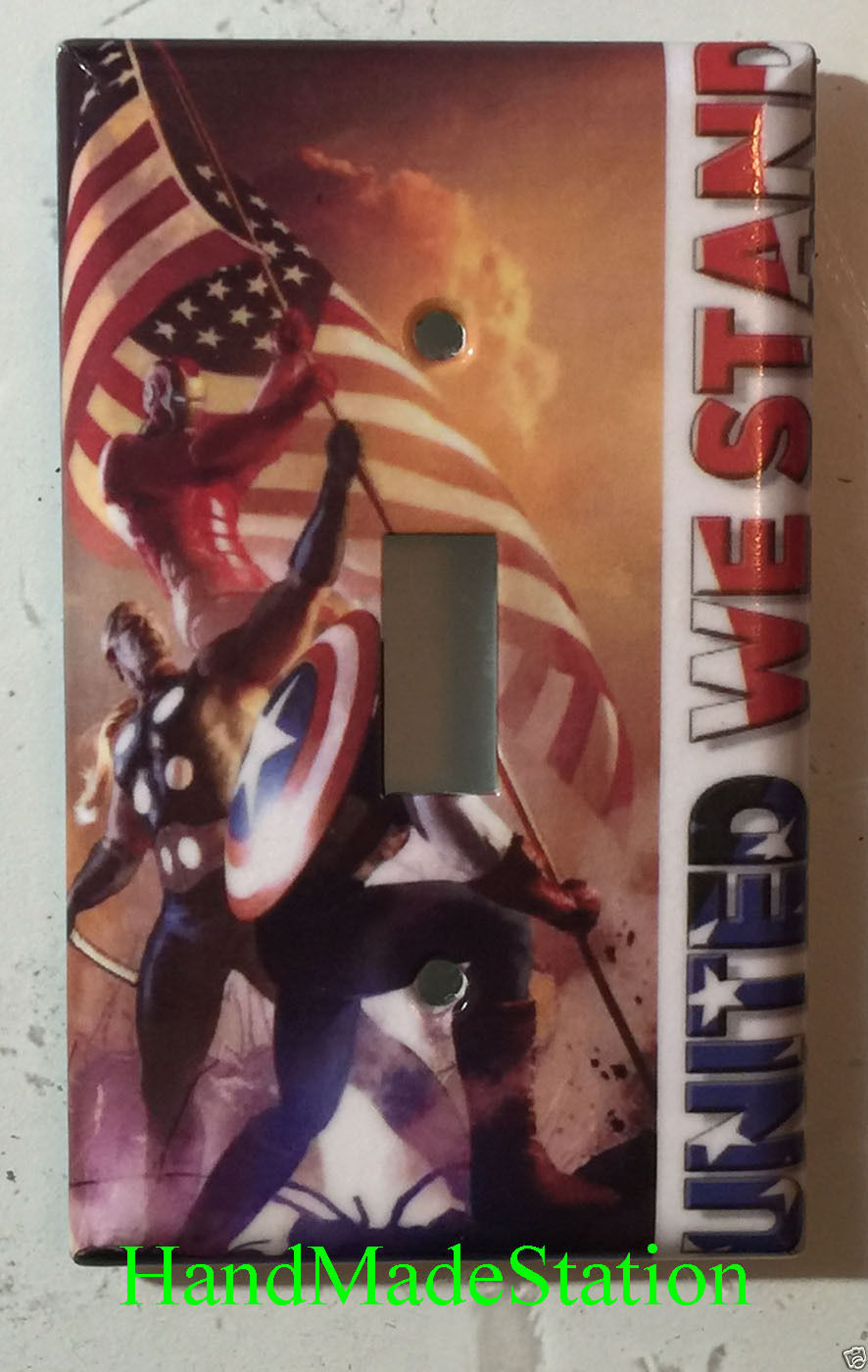 Comic Marvel Heroes United We Stand US Flag Switch Outlet Wall Cover Plate decor