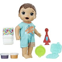Baby Alive Super Snacks Snackin Luke Brunette Boy Doll with Airplane Spoon New image 2