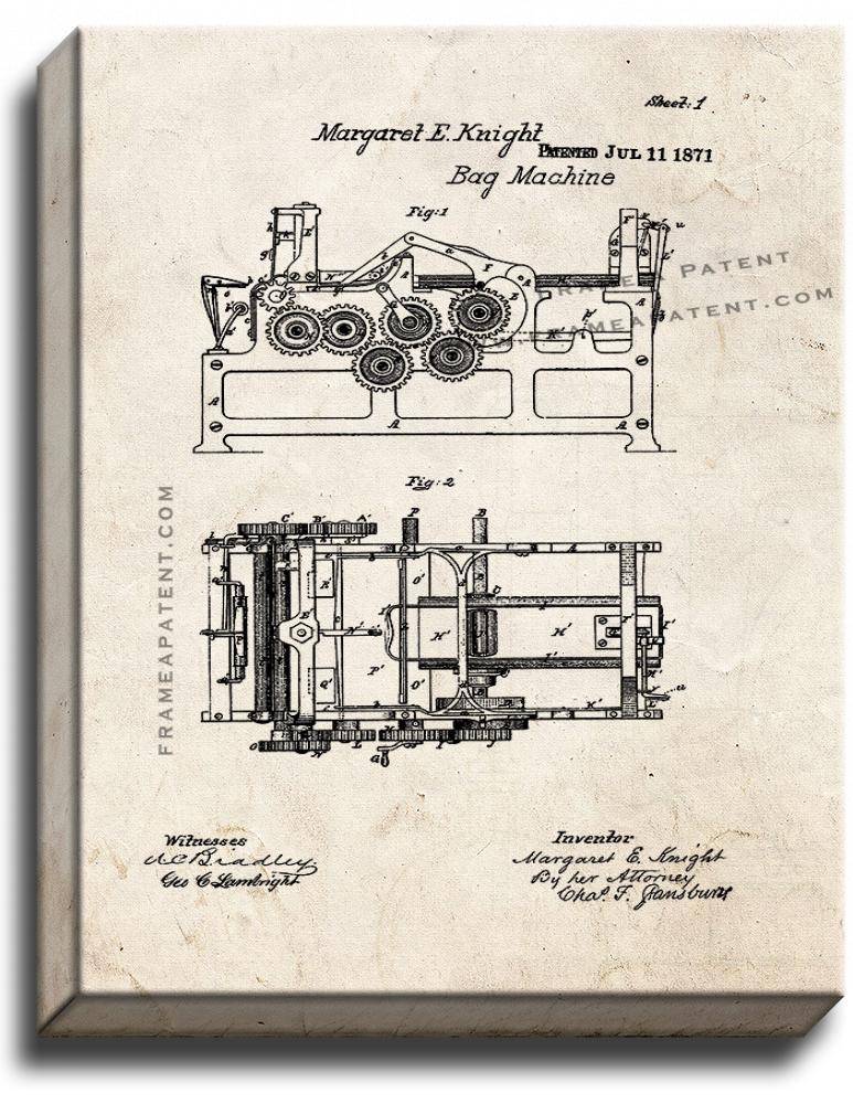Primary image for Paper Bag Machine Patent Print Old Look on Canvas