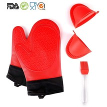 1 Pair Heat Resistant Silicone Oven Gloves Non Slip For Kitchen Grilling... - $13.15