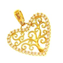 SOLID 18K YELLOW GOLD PENDANT HEART TREE OF LIFE CUBIC ZIRCONIA 17mm 0.67 inches image 1