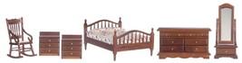Dollhouse Miniature Bedroom Set, 6 pc,Walnut Finish #T0017 - $50.36