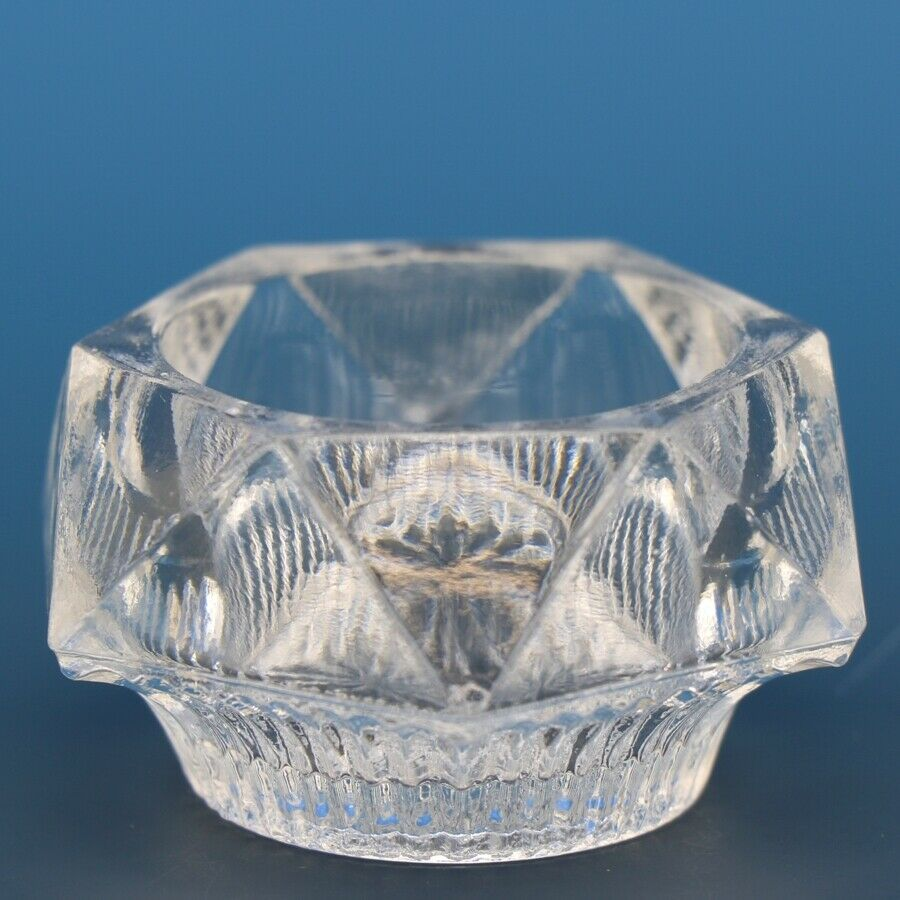 Antique EAPG Pressed Glass Open Salt Ribbed Pryramid
