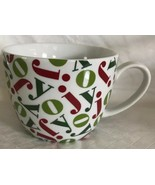 Crate & Barrel Holiday Mug Red & Green JOY On White Cup Christmas - $9.99