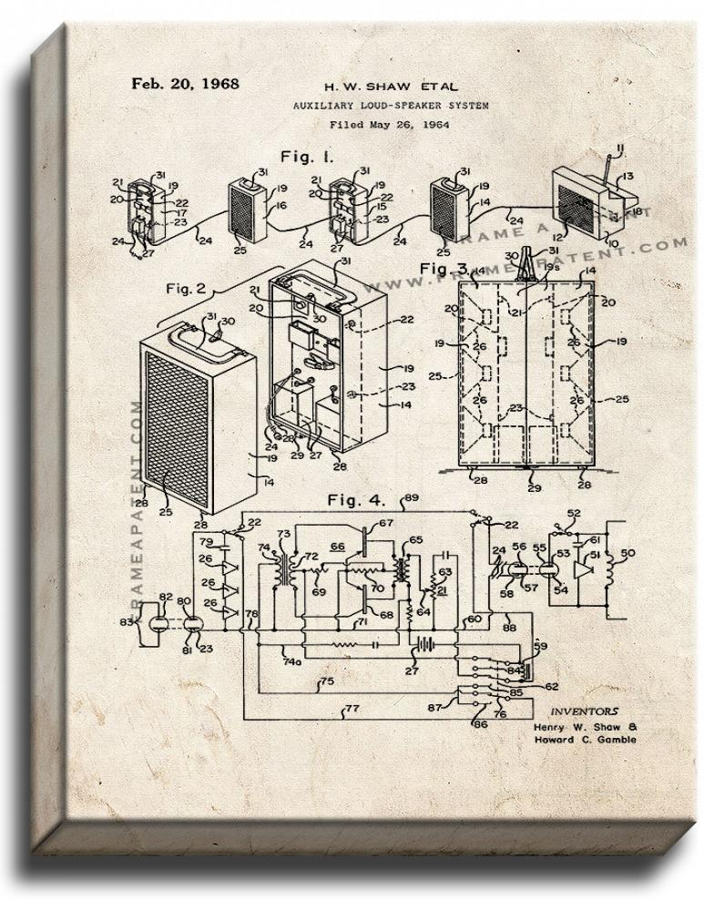 Primary image for Auxiliary Loud-speaker System Patent Print Old Look on Canvas