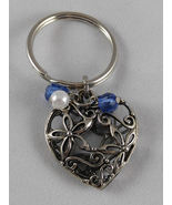 Antiqued Silver Hollow Heart w Beads Key Fob - $5.75