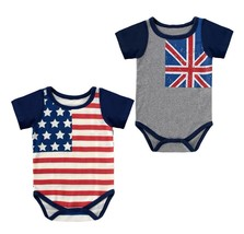 3-24M American British Flag Baby Boy Girl Costume Short Sleeve Jumpsuit - $10.99