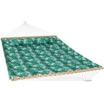 Sunnydaze 2-Person Fabric Spreader Bar Hammock and Pillow - Green Palm L... - $79.14