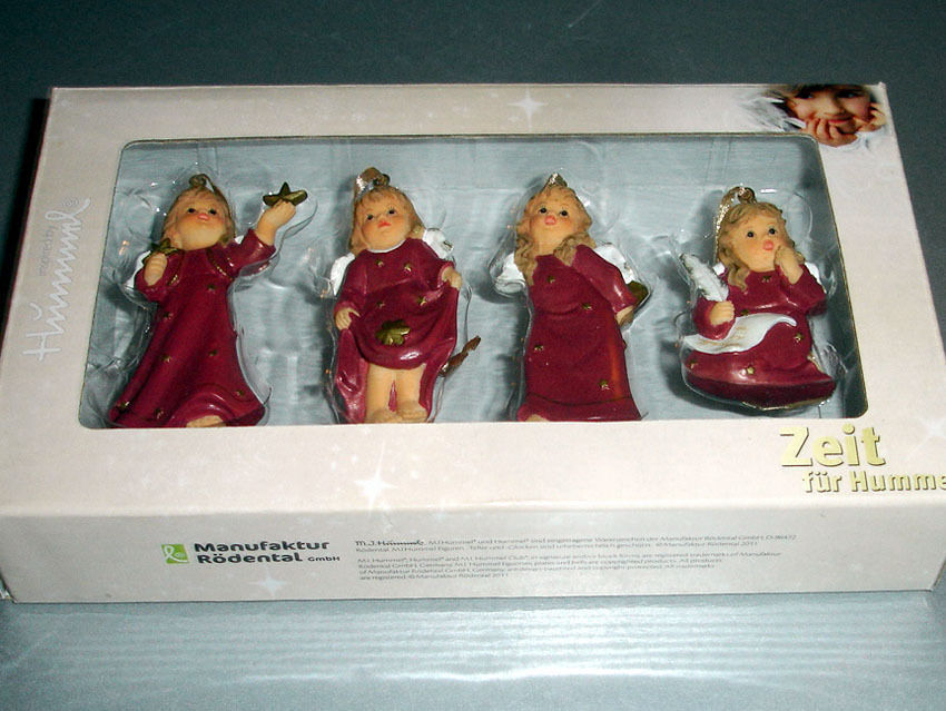 Goebel Angel Relief Ornaments Bordeaux Set of 4 #828142 New Boxed