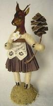 Vintage Inspired Spun Cotton Deer Girl Figurine No.362 Christmas Putz image 1