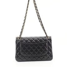 NEW AUTHENTIC CHANEL BLACK QUILTED LAMBSKIN JUMBO CLASSIC DOUBLE FLAP BAG GHW image 4